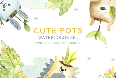 Watercolor Set Cute Pots