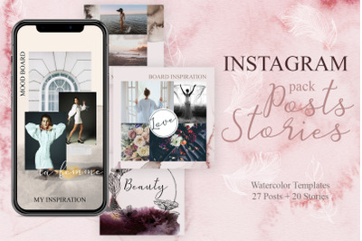 Instagram pack Posts and Animated Stories - Watercolor templates
