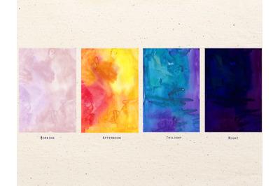 Watercolor ombre textures set