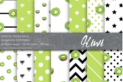 Summer Fruit Digital Papers, Kiwi Patterns