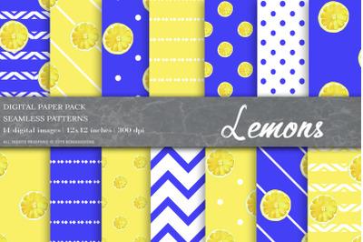 Lemons Digital Papers, Fruit Patterns