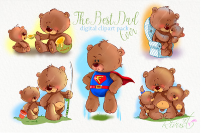 Cute teddy bears with Dad clipart Father's Day clip art. Superman