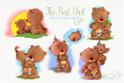 Father's day clip art Teddy bear Dad and son