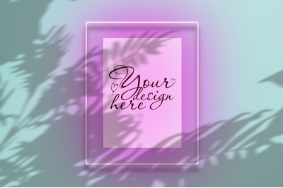 Mockup poster in a neon frame with a pink glow
