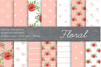 Floral Digital Papers, Floral Patterns