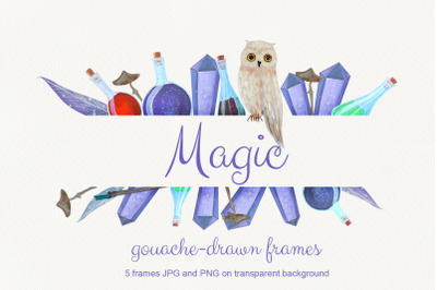 Magic. Gouache drawn set of 5 frames
