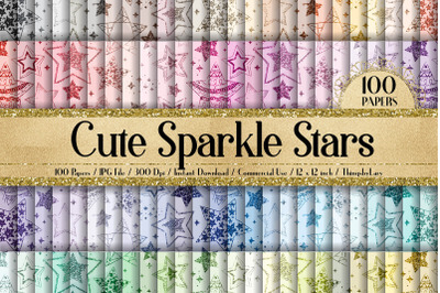 100 Seamless Cute Sparkle Glitter Galaxy Star Digital Papers