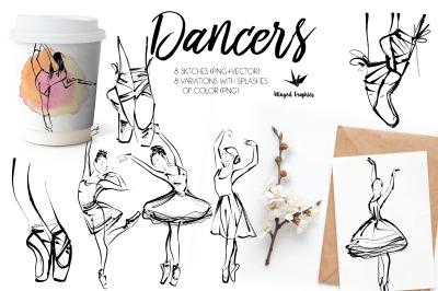 Ballerinas / dancers png +ai files