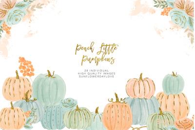 Pink Peach Orange and Gold Confetti Little Pumpkin clip art