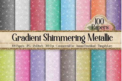 100 Shimmering Ombre Gradient Metallic Glitter Digital Papers