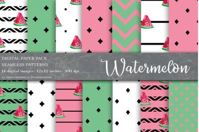 Watermelon Digital Papers, Fruit Patterns