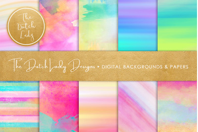 Watercolor Rainbow Stripe & Smear Backgrounds