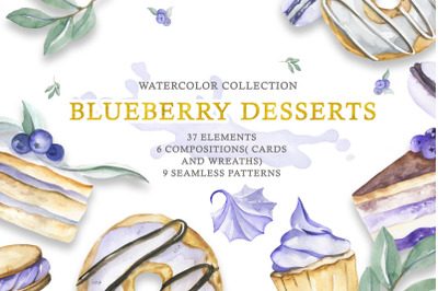 Watercolor collection of Blueberry Desserts