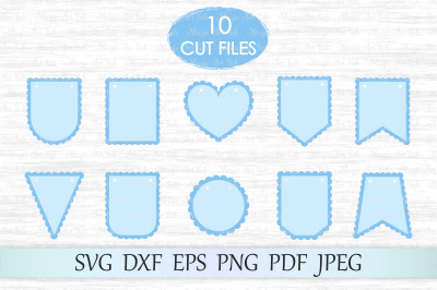 Scalloped banners svg, Bunting banners svg, Banners cut file
