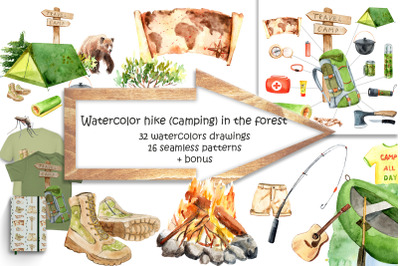 Watercolor hike in the forest (camping)