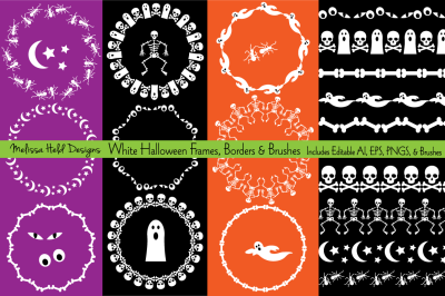 White Halloween Frames & Borders