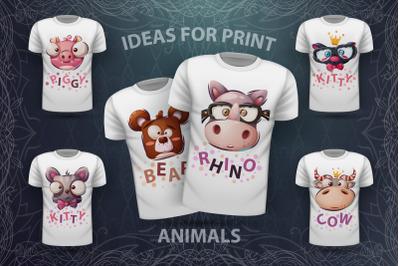 Set cute animal - for print t-shirt