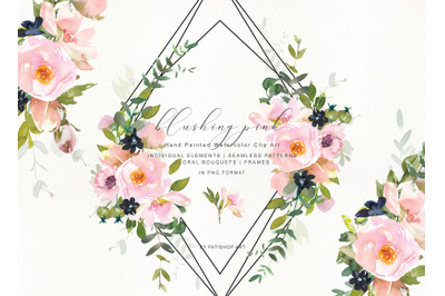 Watercolor Romantic Blush Floral Clipart Collection