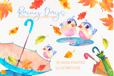 Cute watercolor fall umbrella clipart. Birds, leaves, boots.