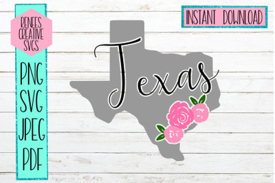 Texas Floral | State SVG | SVG Cutting file