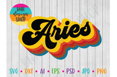 Aries SVG, Retro SVG, Horoscope SVG, SVG File, DXF File, Cut File