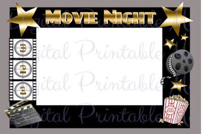Movie Night Photo Booth Frame Background Backdrop Prop Black Gold Thea