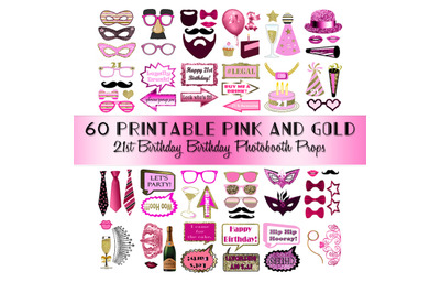 21st Birthday Photo Booth Props Pink and Gold Pretty Classy Glitter Pr