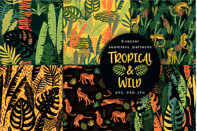 Tropical & wild. 6 seamless patterns