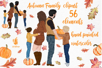 Family clipart, PREGNANT WOMEN IMAGE, Men with beard, Autumn