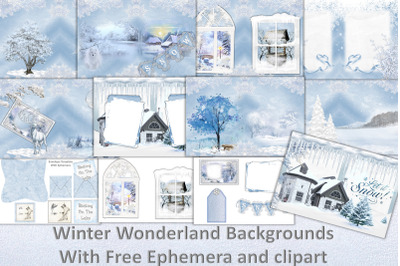 Winter Wonderland Scrapbooking Kit with Free clipart and ephemera