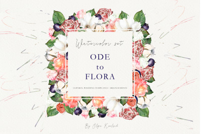 Watercolor Wedding Set Ode de Flora
