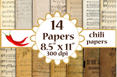 Antique Papers, Antique Music Papers, Music Digital Papers