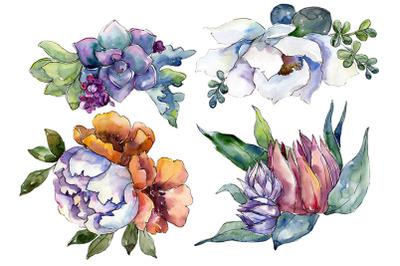 Bouquet of flowers High feelings watercolor png