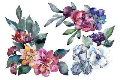 Bouquet of flowers Vienna Waltz watercolor PNG