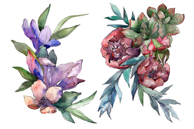 Bouquet of flowers Melody of love watercolor PNG