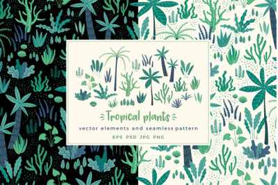 Tropical plants. Elements & pattern