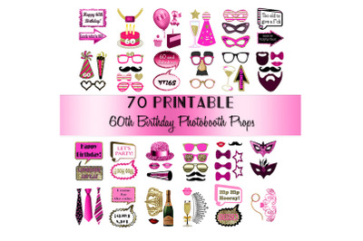 60th Birthday Photo Booth Props Pink and Gold over 70 Adult Classy Gli