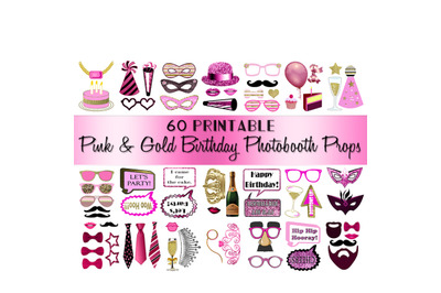 Birthday Photo Booth Props Pink and Gold Adult Classy Glitter Printabl
