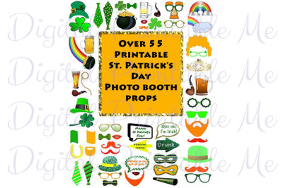 St Patricks Day Photo Booth Props Set St Pattys Glitter Printable Inst