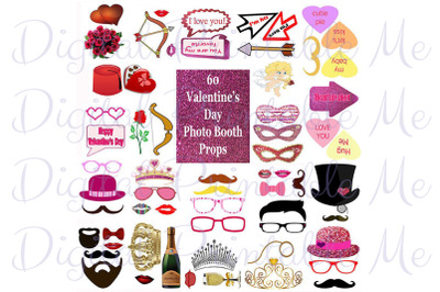 Valentine's Day Photo Booth Props Set Glitter Printable Instant Downlo