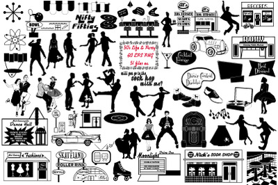 Retro 1950's Life and Party Vector AI EPS PNG
