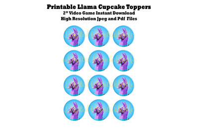 Printable Cupcake Toppers, Llama, Video Game Party, Coins, Game Loot,