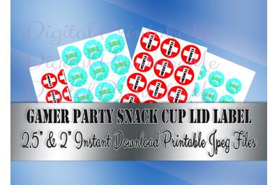 """Snack Cup Lid 2"""" & 2.5"""" Labels, Medkit Health, Slurp, Printable, gelat"""