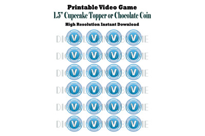 Printable Chocolate Coin Label, Cupcake Toppers, Video Game Party, 1.5