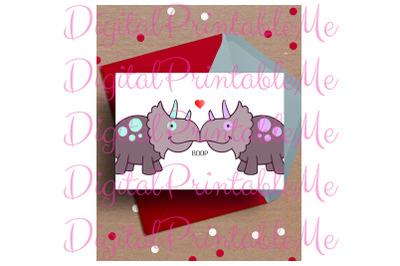 Dinosaur Valentine's day Card, Anniversary Card, Printable love, Dino