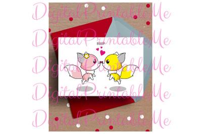 Fox Card, fox Valentine's day Card, fox Anniversary Card, Printable lo