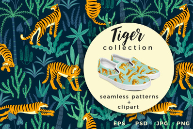 Tiger collection. Patterns & clipart