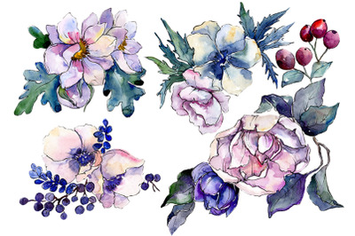 Stylish bouquet of flowers Cleopatra watercolor PNG
