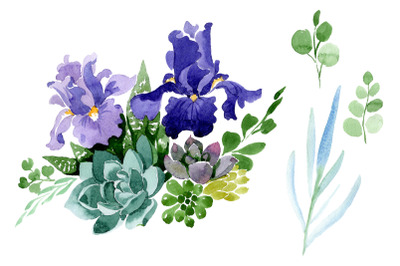 Bouquet of flowers with purple irises watercolor PNG