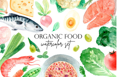 Organic Food. Watercolor Clipart Set